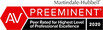 Martindale-Hubbell | AV Preeminent | Peer Rated for Highest Level of Professional Excellence | 2020